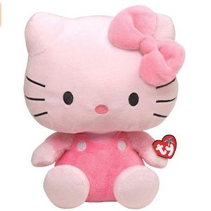 NET TY BEANIE BUDDY HELLO KITTY ALL PINK LARGE!!!